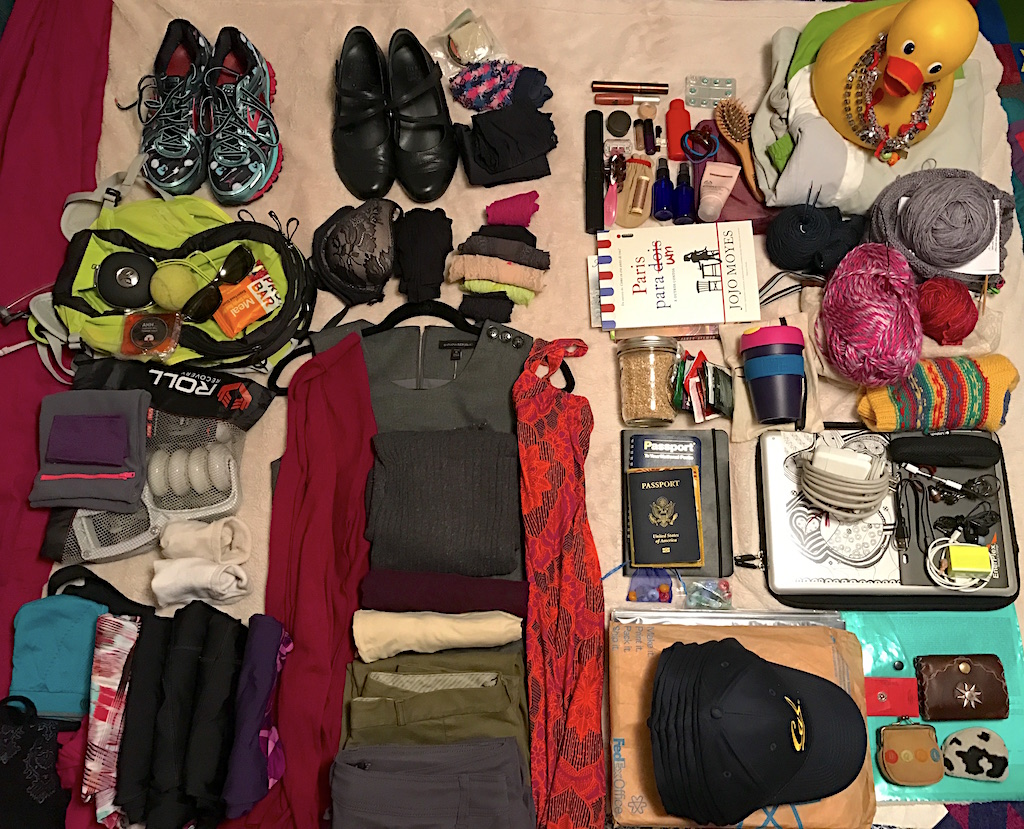 Everything I packed when traveling to two countries, 7 cities and running 3 1/2 marathons in 10 days.