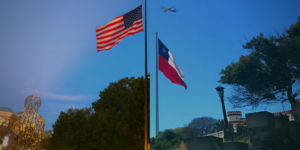U.S.A. flag and Chile flag with plane